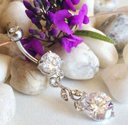 Blooming Crystal Flower Vine Belly Dangle in Rose Gold