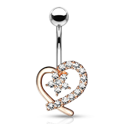 Amors Blooming Heart Belly Bar in Rose Gold