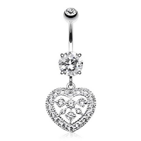 Dangling Love Heart Belly Button Ring