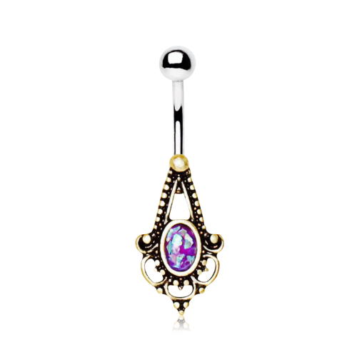 Gold Plated Bohemian Design Navel Ring with Simulated Purple Opal.
