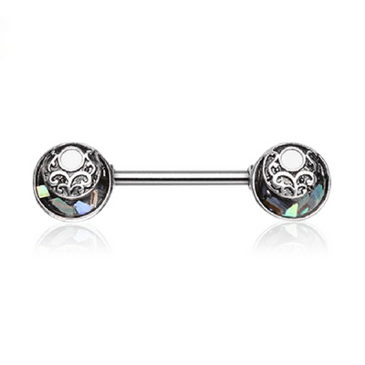 Filigree Abalone Inlay Nipple Barbell
