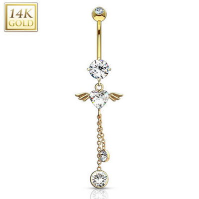 Angel Heart 14k Yellow Gold Belly Ring