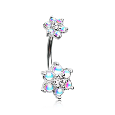 Elegant Reflecting Stone Blossom Belly Bar