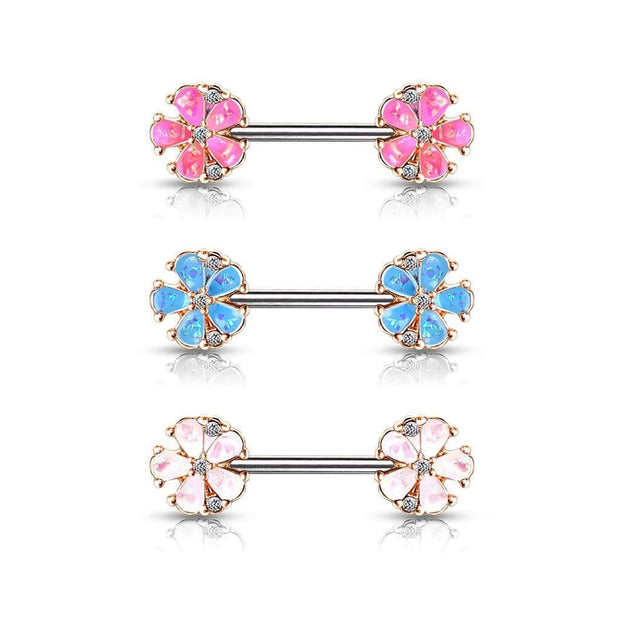 Rose Gold Flower Sparkles Pink Opal Nipple Barbell