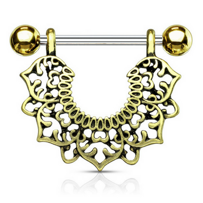 Golden Ascot Filigree Flower Dangle Nipple Ring