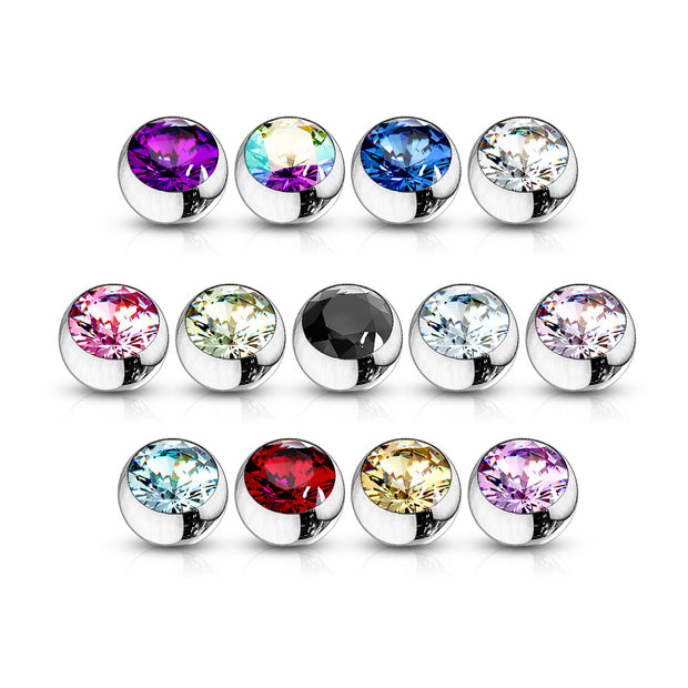 Press Fit Cubic Zirconia Gem Loose Top Ball Body Jewellery Parts