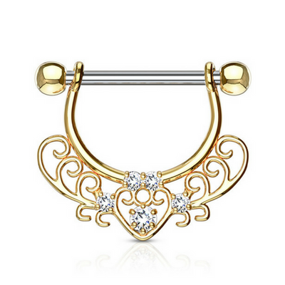 Jewelled Filigree Heart Dangly Nipple Ring in Yellow Gold