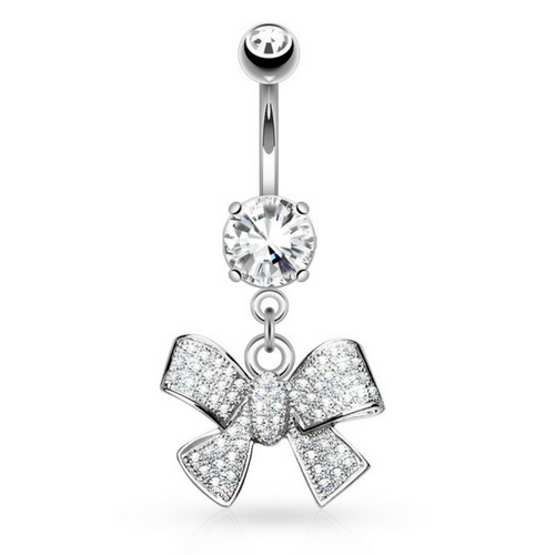 Crystal Craze Glamour Bow Belly Ring