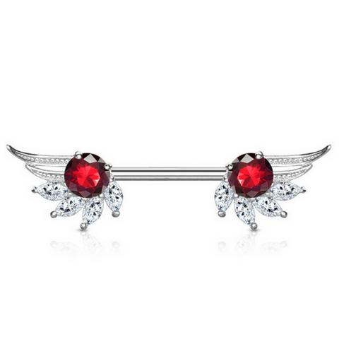 Ruby Angelic Wings Nipple Barbell Ring