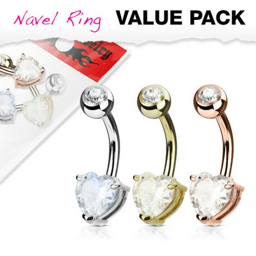Value Pack Solitaire Heart Belly Rings