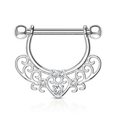Jewelled Filigree Heart Dangly Nipple Ring
