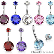 Internally Threaded Claw Set Belly Piercing Rings