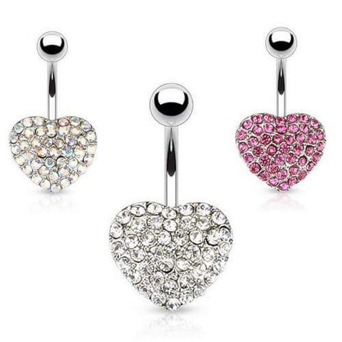 316L Surgical Steel Love Heart Belly Button Ring. 14g, 10mm Standard.