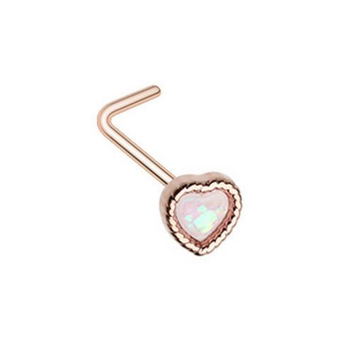 Rose Gold Glitter Opal Heart L-Shape Nose Ring