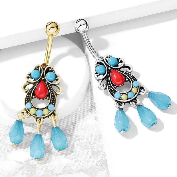 Gold Bohemian Belly Dangle. Turquoise, Red & Lime. 14g, 10mm Belly Bar
