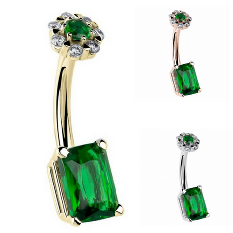 14k Gold Emerald Cut and Flower Cluster Belly Ring