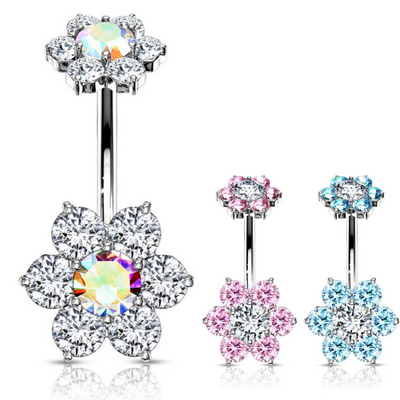 Internally Threaded Flower Belly Button Rings. Split Style Belly Ring