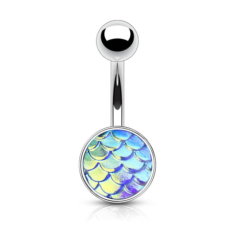 Irridescent Mermaid Scale Belly Ring in Blue