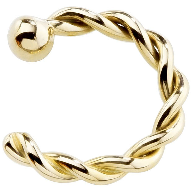 Solid 14K Yellow Gold Twisted Nose Hoops