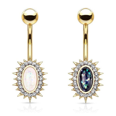 Classic Opal Belly Ring. Various Colours. 14g, 10mm Yellow Gold