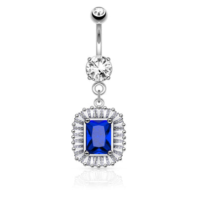 Leonora Sapphire and Diamond CZ Dangly Belly Button Ring