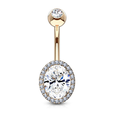 Calista Oval Cut Crystal Halo Belly Piercing Jewellery in Rose Gold
