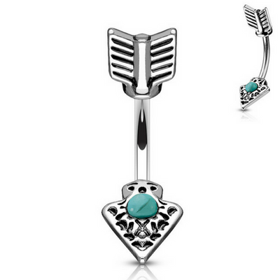 Turquoise Arrowhead Belly Button Ring
