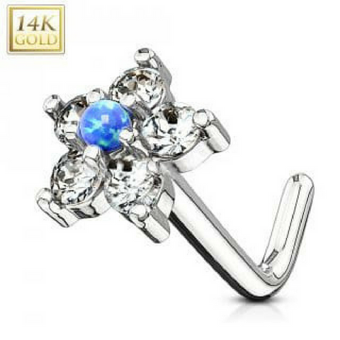 14k White Gold L Bend Nose Stud Ring with Blue Opal Centered CZ Flower