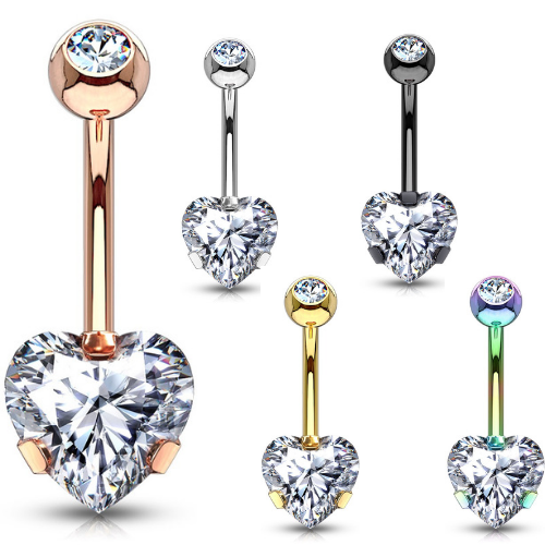 Classic Heart Solitaire Belly Button Ring