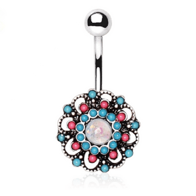 316L Stainless Steel Multi Beads Floral Navel Ring