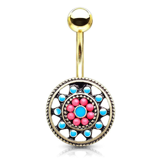 Gold Plated Multi Beaded Aztec Sun Belly Bar. 14g, 10mm.