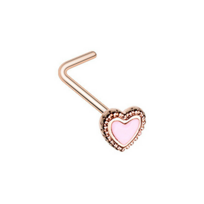 Rose Gold Doily Heart L-Shape Nose Ring