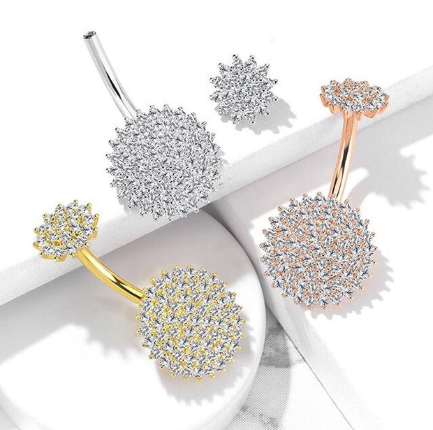 Circlet Pave Diamond Internally Threaded Belly Bar