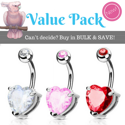 Classic Heart Solitaire Gem Value Pack Belly Rings