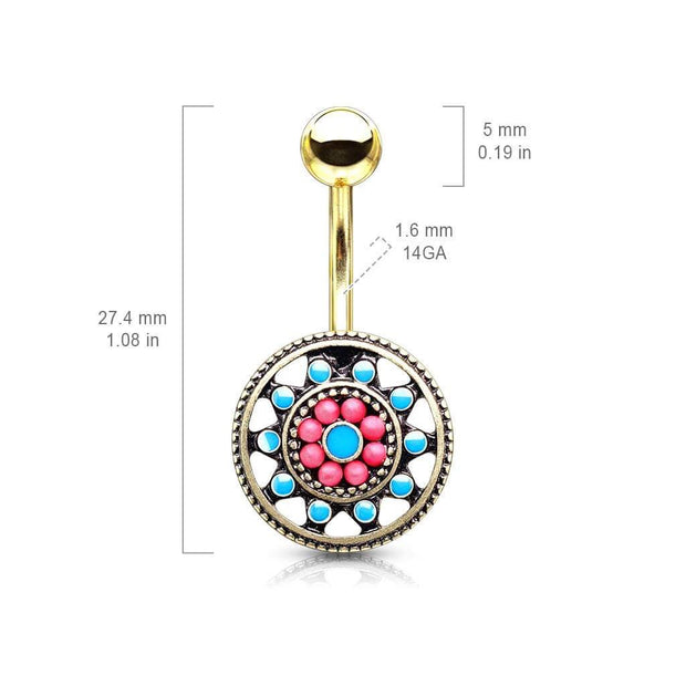 Aztec Sun Wheel Belly Bar