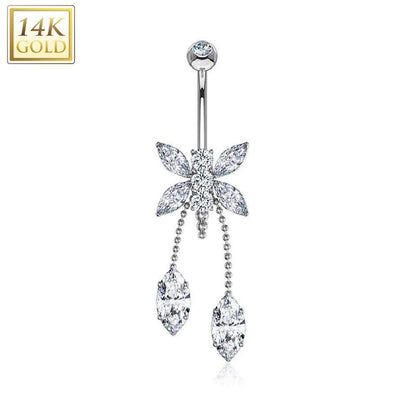 Marquise Gem Dragonfly 14k Solid White Gold Dangle Navel Ring