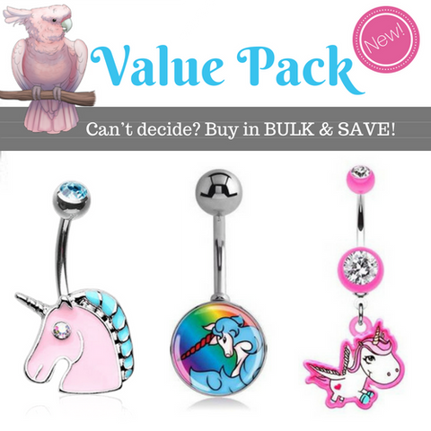 Surgical Steel Cute Bell Ring Pack