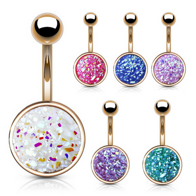 Druzy Stone Cup Belly Bar in Rose Gold