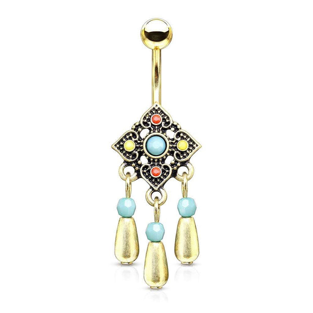 Gold Bohemian Belly Dangle. Turquoise, Ruby & Lemon. 14g 10mm Belly Bar