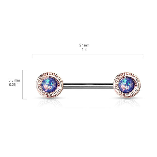 Rose Gold Flower with Green Opal Nipple Barbell. 14g. 14mm.
