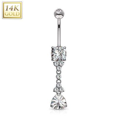 14k White Gold Prestige Dangly Belly Bar