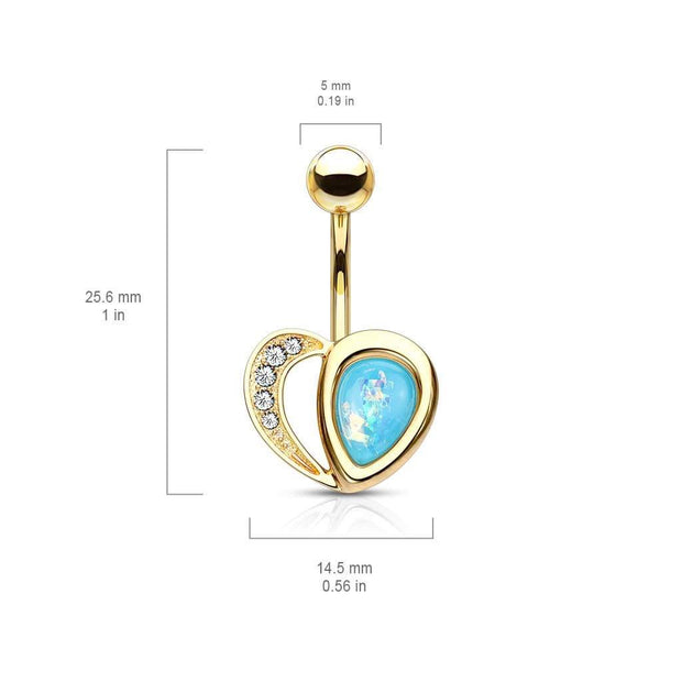 Romantic Classic Love Heart Belly Ring. Yellow Gold, 14g, 10mmPlease