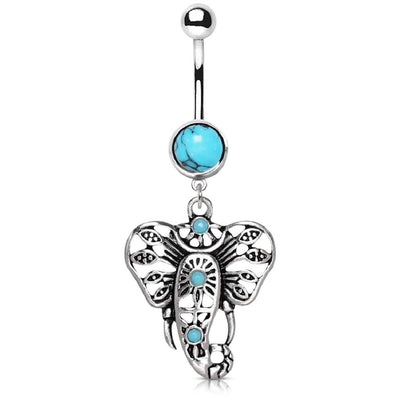 Turquoise Bohemian Elephant Belly Dangle. Bohemian Belly Jewellery. 14g.