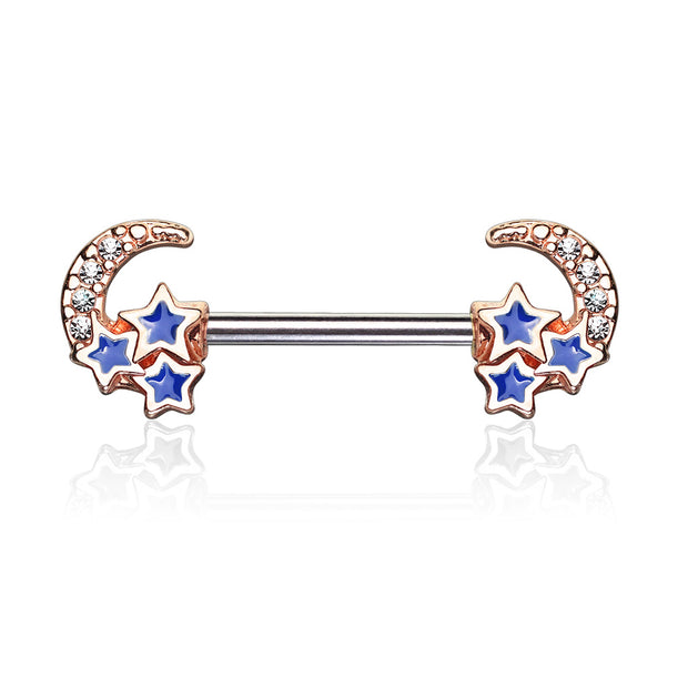 Rose Golden Galactic Nipple Barbell