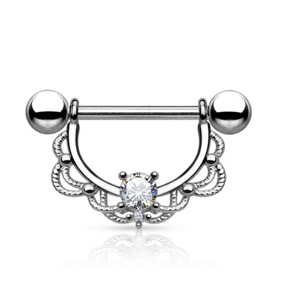Crystal Gem Filigree Nipple Ring