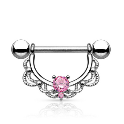 Crystal Pink Filigree Nipple Ring