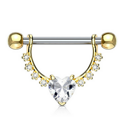 Crystal Heart Dangly Nipple Ring in Yellow Gold