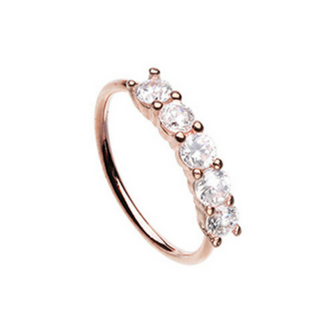 Rose Gold Seamless Prong set 5 Gem Bendable Hoop Ring for Body Piercings