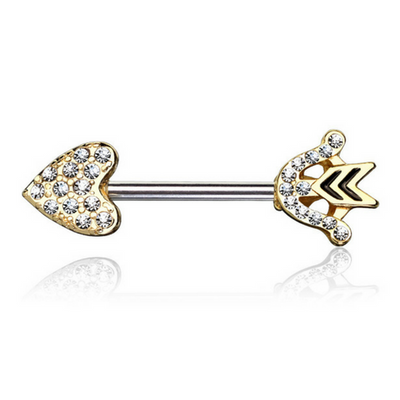 Crystal Romeo Arrow Nipple Barbell in Yellow Gold