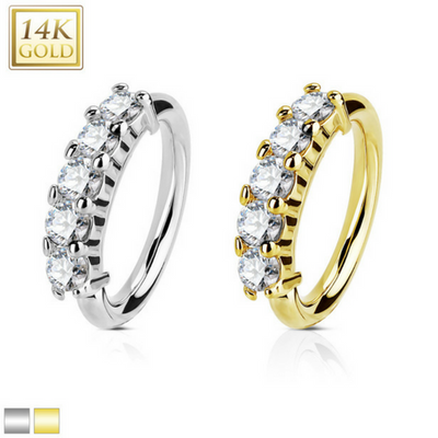 14Kt Gold Cubic Zirconia Set Open Hoop Rings for Body Piercings